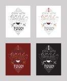 Vectorillustratie met motivationg inspirational citaat over liefde aan wijn en alcoholdranken Royalty-vrije Stock Foto's