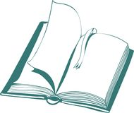 Vectorillustratie met open boek en referentie stock illustratie
