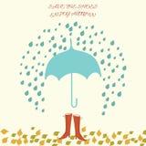 Vectorillustratie met paraplu en vrouwenschoenen Stock Illustratie