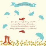 Vectorillustratie met paraplu, vrouwenschoenen Stock Illustratie