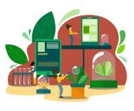 Vectorillustratie met reageerbuizen, gadgets en wetenschapskarakters in een biologisch onderzoekscentrum Het installatiefokken en stock illustratie