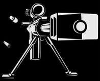 Vectorillustratie met richtingsluipschutterkanon Royalty-vrije Stock Afbeeldingen