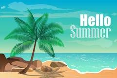 Vectorillustratie met tropisch strand Hello-de zomer Stock Afbeelding
