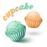 Vectorillustratie met twee cupcakes Stock Afbeeldingen