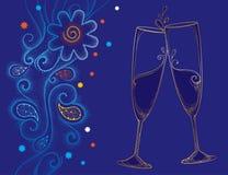 Vectorillustratie met twee glazen van de contourchampagne of fluit in goud op de blauwe achtergrond met gestippelde wervelingen e Stock Fotografie