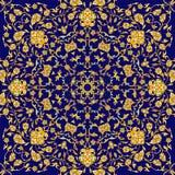 Vectorillustratie met uitstekend gouden rond ornament en plaats voor tekst Stock Afbeelding