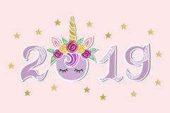 Vectorillustratie met 2019, Unicorn Tiara en ogen als Gelukkige Nieuwjaarprentbriefkaar Stock Foto's