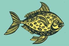 Vectorillustratie met vissen, oceaan Royalty-vrije Stock Fotografie