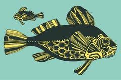 Vectorillustratie met vissen, oceaan Stock Foto