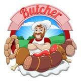 Vectorillustratie met vlees en slager Stock Foto