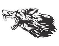 Vectorillustratie met wolfshoofd Royalty-vrije Stock Afbeelding