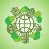 Vectorillustratie milieuvriendelijke planeet Royalty-vrije Stock Afbeelding