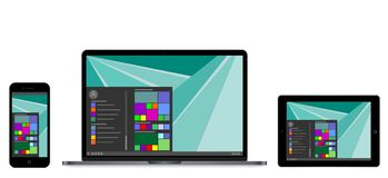 Vectorillustratie moderne laptop, telefoon, tablet Stock Foto
