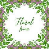 Vectorillustratie mooi purper bloemenkader met groene bladeren op witte achtergrond stock illustratie