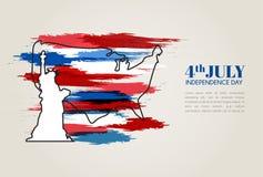 Vectorillustratie, Onafhankelijkheidsdag van het Ontwerp van Amerika Royalty-vrije Stock Foto