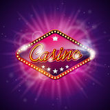 Vectorillustratie op een casinothema met de glanzende vertoning van het titelteken op donkere violette achtergrond Het gokken ont Stock Foto