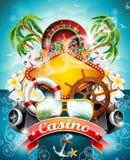 Vectorillustratie op een casinothema met roulettewiel Stock Afbeeldingen