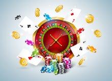 Vectorillustratie op een casinothema met roulettewiel, pookkaarten en het spelen spaanders op witte achtergrond gambling stock illustratie