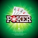 Vectorillustratie op een casinothema met speelkaarten en glanzende pooktitel op groene achtergrond Het gokken ontwerpelementen Royalty-vrije Stock Fotografie