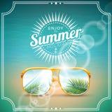 Vectorillustratie op een thema van de de zomervakantie met zonnebril Stock Foto