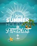 Vectorillustratie op een thema van de de zomervakantie op zeegezichtachtergrond Royalty-vrije Stock Foto's