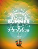 Vectorillustratie op een thema van de de zomervakantie op zeegezichtachtergrond Stock Afbeeldingen