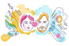 Vectorillustratie op het thema van diverse belangen, hobbys, hartstocht van mensen vector illustratie