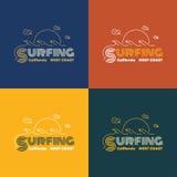 Vectorillustratie op het thema van het surfen in Californië Stock Foto