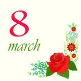 Vectorillustratie op 8 Maart Royalty-vrije Stock Afbeeldingen