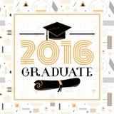 Vectorillustratie op naadloze gelukwensen als achtergrond van graduatie 2016 stock illustratie