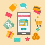 Vectorillustratie op online het winkelen thema Stock Afbeeldingen