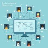 Vectorillustratie op sociaal netwerkthema Royalty-vrije Stock Foto's