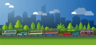 Vectorillustratie, openbaar vervoer in Djakarta stock illustratie