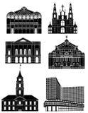 Vectorillustratie oude en nieuwe architectuur Stock Fotografie