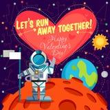 Vectorillustratie over kosmische ruimte voor Valentijnskaartendag Royalty-vrije Stock Afbeeldingen