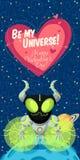 Vectorillustratie over kosmische ruimte voor Valentijnskaartendag Royalty-vrije Stock Afbeelding