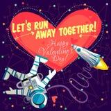 Vectorillustratie over kosmische ruimte voor Valentijnskaartendag Stock Foto