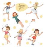 Vectorillustratie, reeks leuke jonge meisjes Stock Foto's