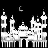 Vectorillustratie, silhouet de bouwmoskee, achtergrond nigh royalty-vrije illustratie