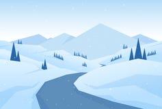 Vectorillustratie: Sneeuw de Bergenlandschap van de winterkerstmis met weg, pijnbomen en heuvels vector illustratie