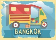 Vectorillustratie tuk tuk van Thailand Bangkok op retro stijlaffiche of prentbriefkaar Stock Afbeeldingen