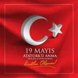 Vectorillustratie 19 u Anma, Genclik ve Spor Bayramiz, vertaling van mayisataturk `: 19 kunnen Herdenking van Ataturk, de Jeugd e vector illustratie