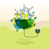 Vectorillustratie van aarde met windturbines, en draadstop Royalty-vrije Stock Fotografie