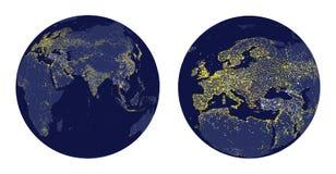 Vectorillustratie van Aardegebied met stadslichten en gezoem van Europa Stock Foto