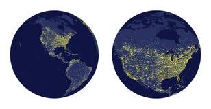 Vectorillustratie van Aardegebied met stadslichten en gezoem van Noord-Amerika Royalty-vrije Stock Foto
