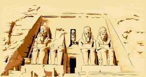 Vectorillustratie van Abu Simbel Egypt Tempel in rots stock illustratie