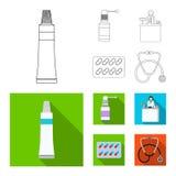 Vectorillustratie van apotheek en het ziekenhuissymbool Reeks van vectorillustratie van de apotheek en de bedrijfsvoorraad vector illustratie