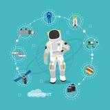 Vectorillustratie van astronaut in kosmische ruimte Mens in spacesuit en ontwerp van de helm het vlakke stijl vector illustratie