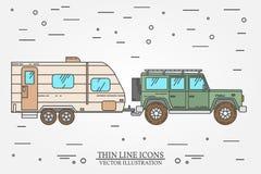 Vectorillustratie van auto en reisaanhangwagens Het concept van de de familiereis van de de zomerreis Dun lijnpictogram Vector Royalty-vrije Stock Afbeelding