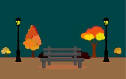 Vectorillustratie van Autum-landschap met volle maan en bladeren die van de boom, Vector de Herfstgebied bij nachttimee vallen, d royalty-vrije illustratie